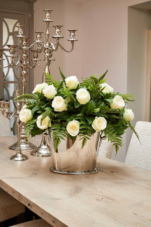 Roses and Greenery in a Champagne Cooler