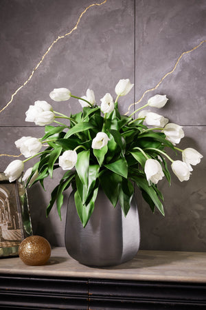 Tulips in a Grey frosted vase