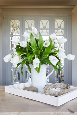 Tulips in a White Stone Jug