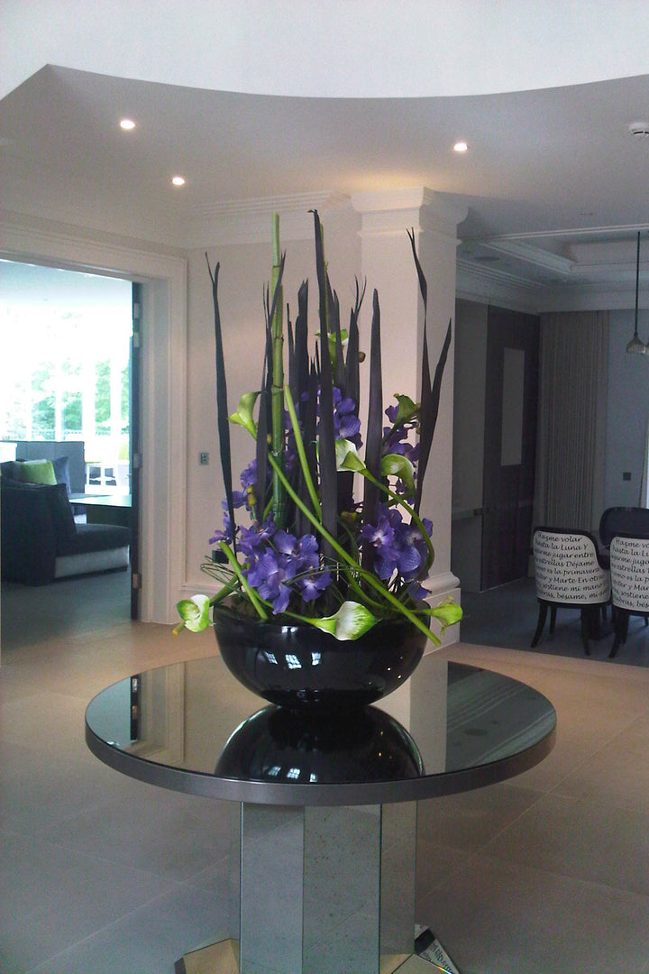 Vanda Orchids Entrance Display in a Black Bowl