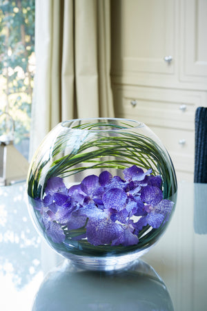 Vanda Orchids with Grasses in a Glass Goldfish Bowl