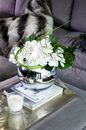 Vanda Orchid with Twigs in a Shiny Silver Goldfish Bowl