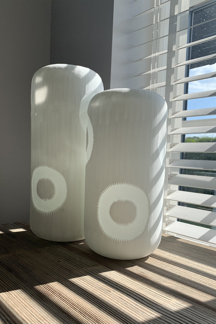 Set of Handblown Patterned Glass Vases