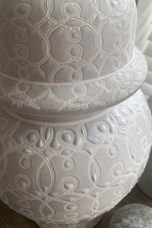 White Patterned Ginger Jar