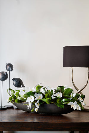 Orchids and Dianthus in Black Stone Boat White