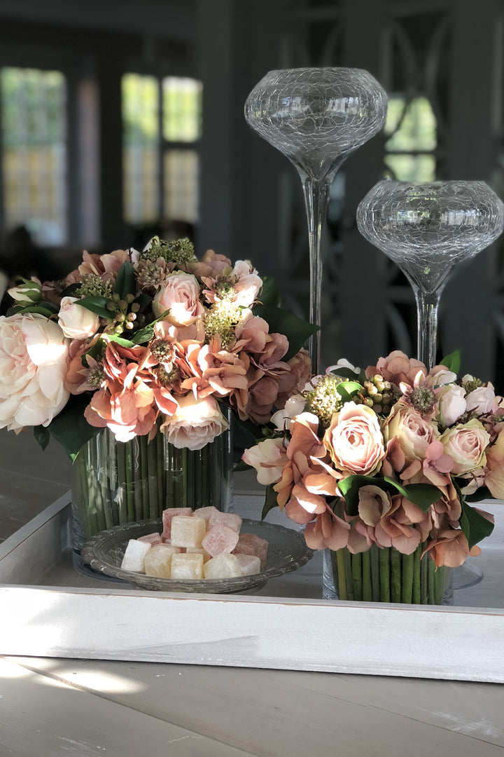 Rose,Hydrangea and Skimmia In a Stem Lined Cylinder (peach)