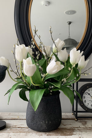 Tulips and Pussy Willow in a Black Stone Vase