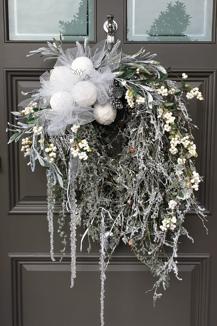 Hanging Spruce, Snowberry and Baubles Wreath