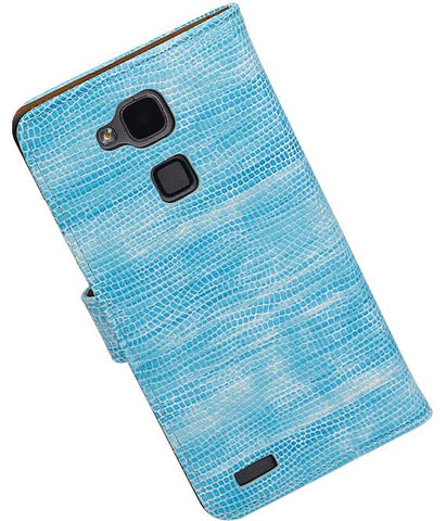 Huawei Mate 7 Turquoise | Lizard bookstyle / book case/ wallet case Hoes  | WN™ - hoesjeshoek