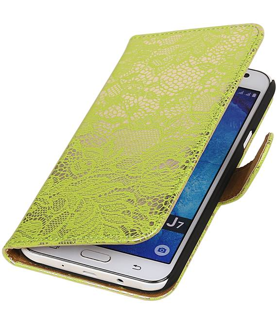 Samsung galaxy j7 2015 Groen | Lace bookstyle / book case/ wallet case Hoes  | WN™ - hoesjeshoek
