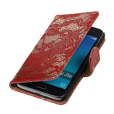 Samsung galaxy j1 2015 J100F Rood | Lace bookstyle / book case/ wallet case Hoes  | WN™ - hoesjeshoek