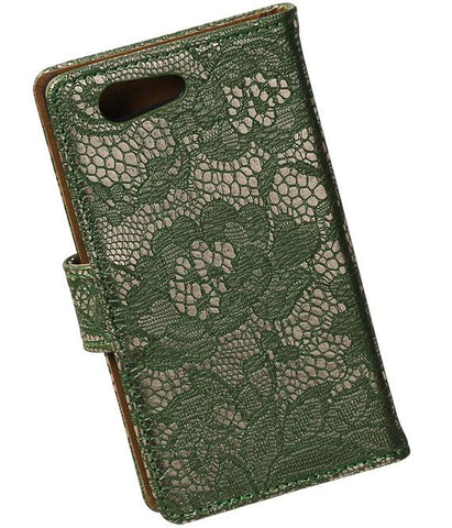 sony Xperia Z4 Compact Donker Groen | Lace bookstyle / book case/ wallet case Hoes  | WN™ - hoesjeshoek