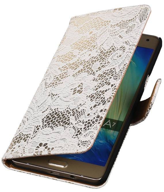 Samsung galaxy j1 2015 J100F Wit | Lace bookstyle / book case/ wallet case Hoes  | WN™ - hoesjeshoek