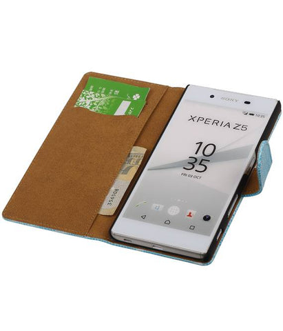 sony Xperia Z5 Turquoisse | Lizard bookstyle / book case/ wallet case Hoes  | WN™ - hoesjeshoek