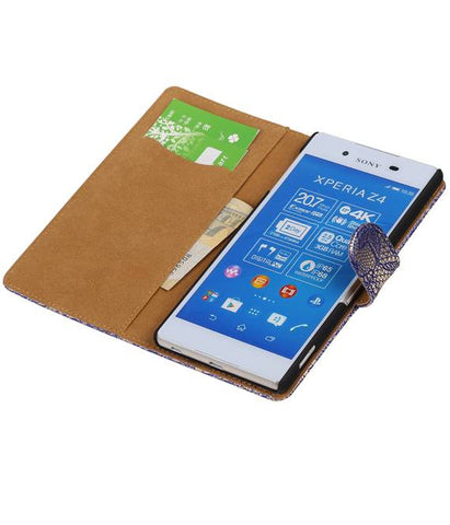 sony Xperia Z4 Z3+ Blauw | Lace bookstyle / book case/ wallet case Hoes  | WN™ - hoesjeshoek