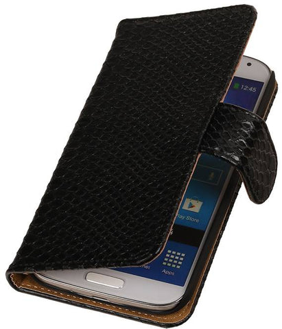 Samsung Galaxy Alpha G850 Zwart | Snake bookstyle / book case/ wallet case Hoes  | WN™ - hoesjeshoek