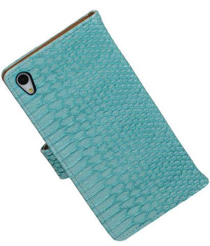sony Xperia Z4 Z3+ Turquoise | Snake bookstyle / book case/ wallet case Hoes  | WN™ - hoesjeshoek