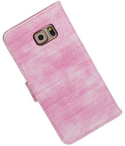 Samsung Galaxy S6 Edge Plus G928T Roze | Lizard bookstyle / book case/ wallet case Hoes  | WN™ - hoesjeshoek