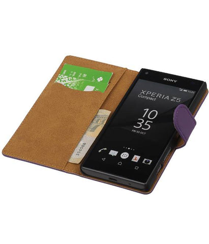sony Xperia Z5 Compact Paars | bookstyle / book case/ wallet case Hoes  | WN™ - hoesjeshoek