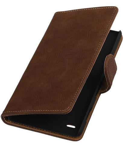 sony Xperia C4 Bruin | Bark bookstyle / book case/ wallet case Hoes  | WN™ - hoesjeshoek