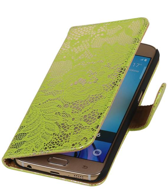 Samsung galaxy j2 2015 J200F Groen | Lace bookstyle / book case/ wallet case Hoes  | WN™ - hoesjeshoek