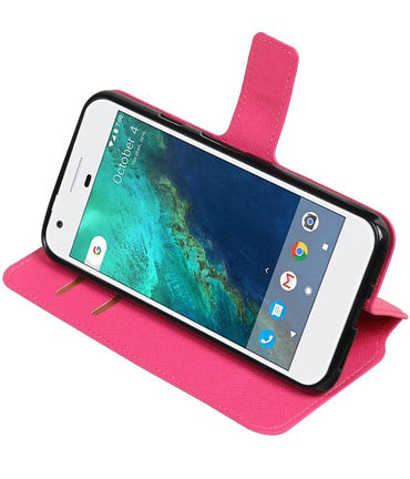 Google Pixel Roze | Cross Pattern TPU bookstyle / book case/ wallet case  | WN™ - hoesjeshoek
