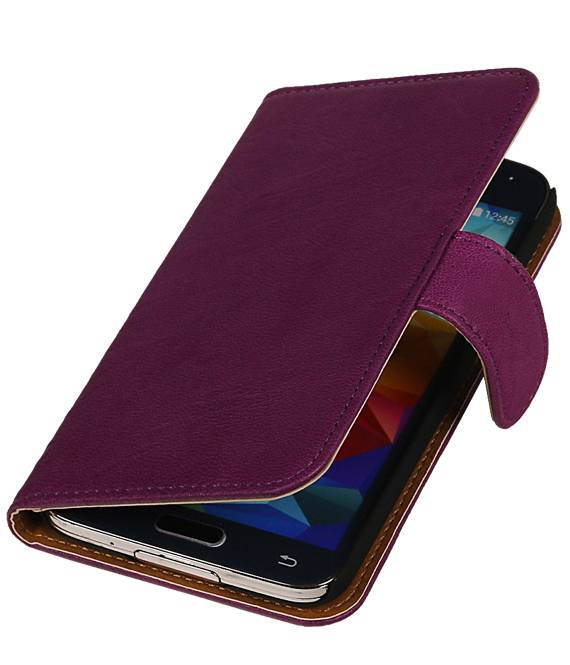 Samsung Galaxy Ace 2 i8160 Paars | Echt leder bookstyle / book case/ wallet case Hoes  | WN™ - hoesjeshoek