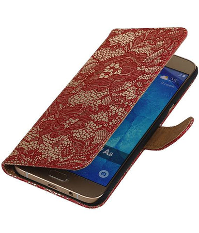 Samsung galaxy a8 2015 Rood | Lace bookstyle / book case/ wallet case Hoes  | WN™ - hoesjeshoek