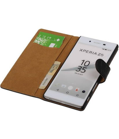 sony Xperia Z5 Zwart | Croco bookstyle / book case/ wallet case Hoes  | WN™ - hoesjeshoek