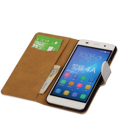 Huawei Honor 4 A / Y6 Wit | Croco bookstyle / book case/ wallet case Hoes  | WN™ - hoesjeshoek