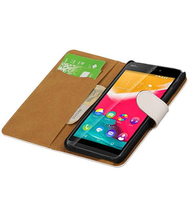 Wiko Raibowjam 4G Wit | bookstyle / book case/ wallet case Hoes  | WN™ - hoesjeshoek