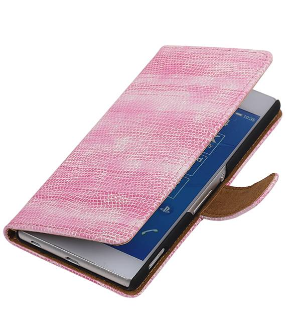 sony Xperia Z4 Z3+ Roze | Lizard bookstyle / book case/ wallet case Hoes  | WN™ - hoesjeshoek
