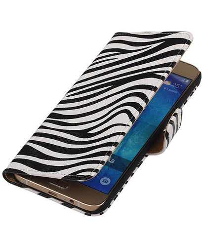 Samsung galaxy a8 2015 Wit | Zebra bookstyle / book case/ wallet case Hoes  | WN™ - hoesjeshoek