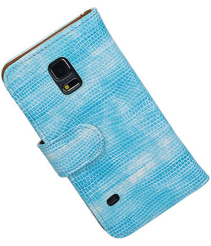 Samsung Galaxy S5 mini G800F Turquoise | Lizard bookstyle / book case/ wallet case Hoes  | WN™ - hoesjeshoek