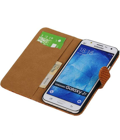 Samsung galaxy j7 2015 Bruin | Snake bookstyle / book case/ wallet case Hoes  | WN™ - hoesjeshoek