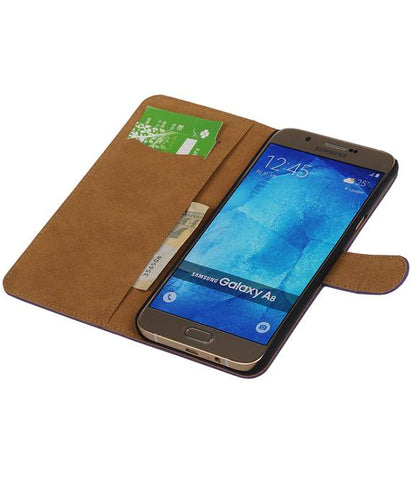 Samsung galaxy a8 2015 Paars | bookstyle / book case/ wallet case Hoes  | WN™ - hoesjeshoek