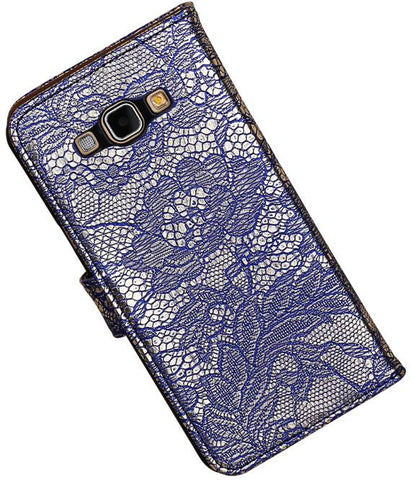 Samsung galaxy a8 2015 Blauw | Lace bookstyle / book case/ wallet case Hoes  | WN™ - hoesjeshoek