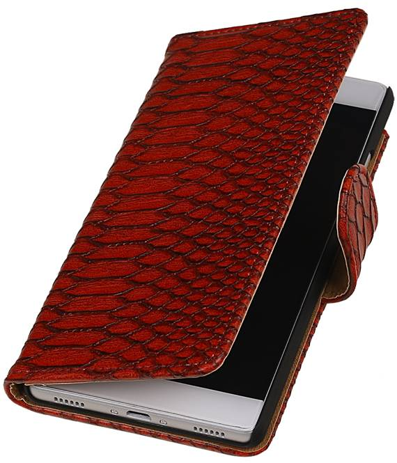 Huawei P8 Rood | Snake bookstyle / book case/ wallet case Hoes  | WN™ - hoesjeshoek