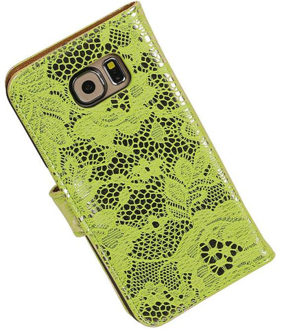 Samsung Galaxy S6 G920F Groen | Lace bookstyle / book case/ wallet case Hoes  | WN™ - hoesjeshoek
