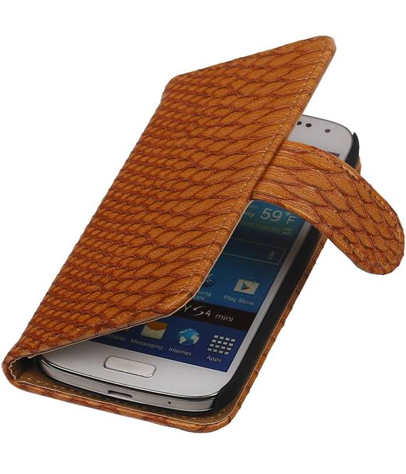 Samsung Galaxy S5 mini G800F Bruin | Snake bookstyle / book case/ wallet case Hoes  | WN™ - hoesjeshoek