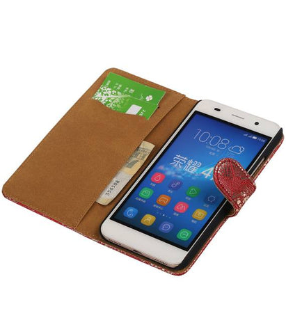 Huawei Honor 4 A / Y6 Rood | Lace bookstyle / book case/ wallet case Hoes  | WN™ - hoesjeshoek