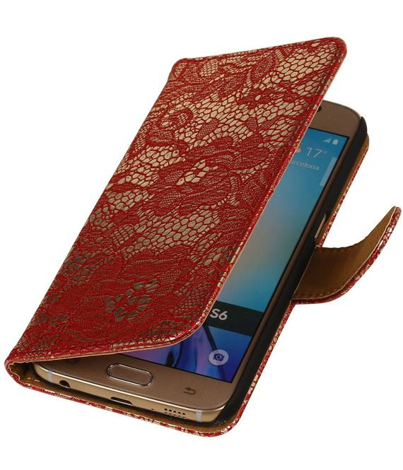 Samsung galaxy j2 2015 J200F Rood | Lace bookstyle / book case/ wallet case Hoes  | WN™ - hoesjeshoek