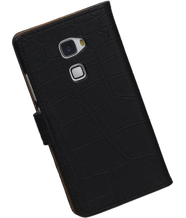 Huawei Mate S Zwart | Croco bookstyle / book case/ wallet case Hoes  | WN™ - hoesjeshoek
