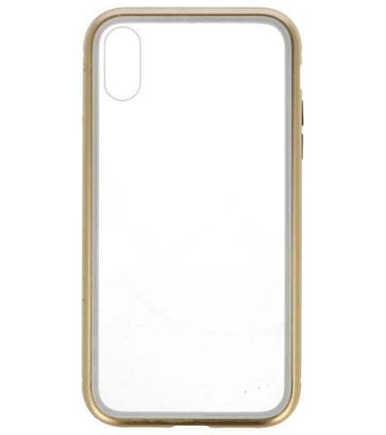 iPhone XR Goud - Transparant | Magnetic Back Cover  | WN™ - hoesjeshoek