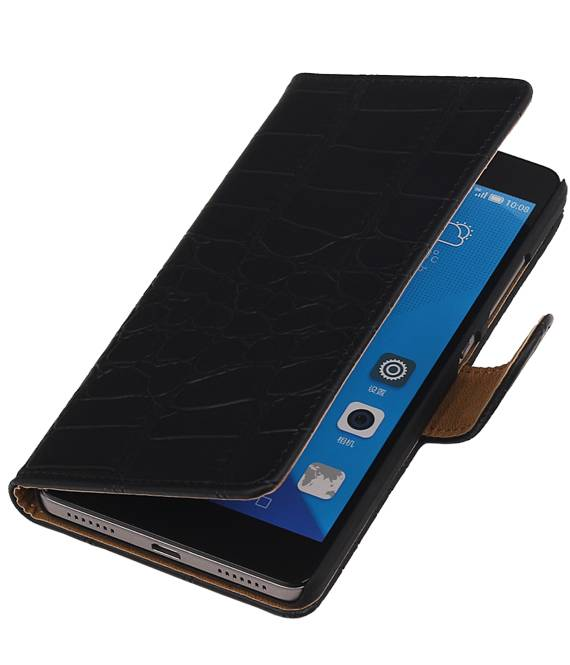 Huawei Honor 7 Zwart | Croco bookstyle / book case/ wallet case Hoes  | WN™ - hoesjeshoek