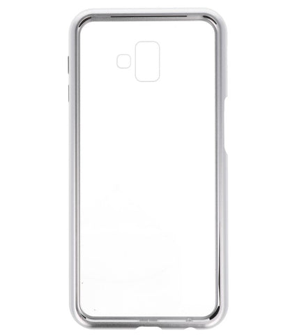 Samsung Galaxy J6 Plus Zilver - Transparan | Magnetic Back Cover  | WN™ - hoesjeshoek