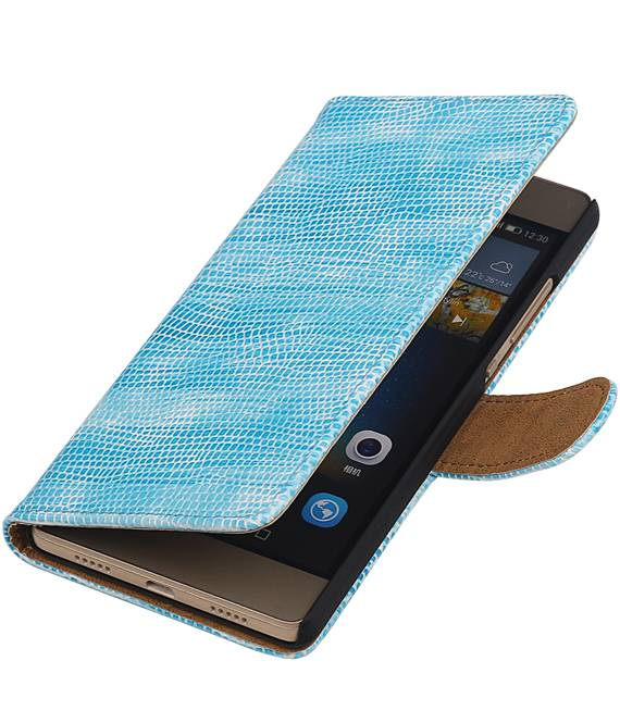 Huawei P8 Lite Turquoise | Lizard bookstyle / book case/ wallet case Hoes  | WN™ - hoesjeshoek