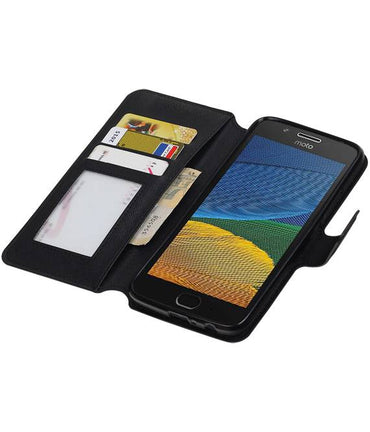 Motorola Moto G5 Plus Zwart | Cross Pattern TPU bookstyle / book case/ wallet case  | WN™ - hoesjeshoek