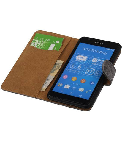 sony Xperia E4g Grijs | Lizard bookstyle / book case/ wallet case Hoes  | WN™ - hoesjeshoek