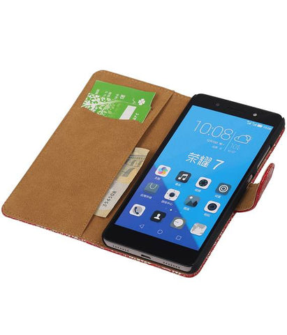 Huawei Honor 7 Rood | Lace bookstyle / book case/ wallet case Hoes  | WN™ - hoesjeshoek